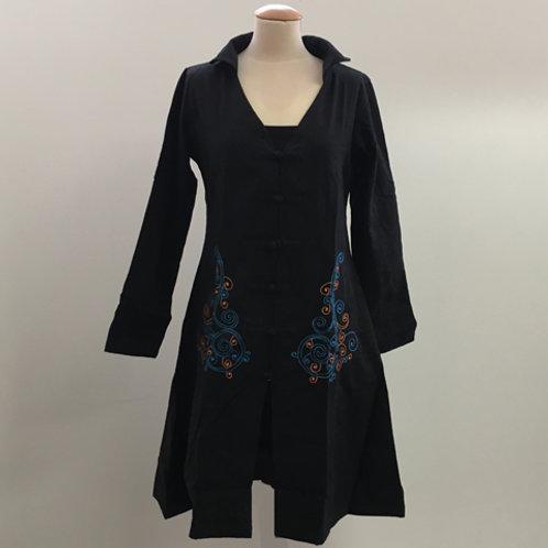 Dames jas met Chinese knopen Zwart blauw