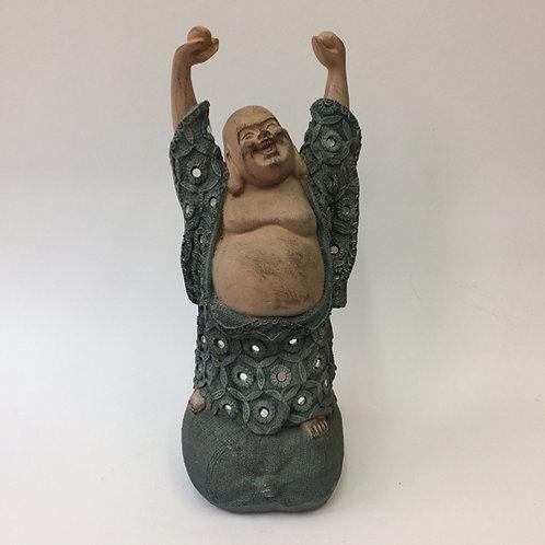 lachende Boeddha china Buddha beton look grijs spiegel