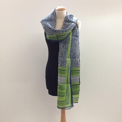 40% zijde en 60% katoen sjaal zwart groen blauw