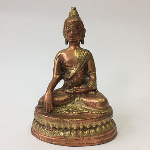 "Boeddha ""Akshobhya"" rood goud koper"