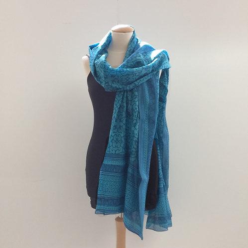 40% zijde en 60% katoen sjaal blauw