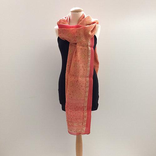 40% zijde en 60% katoen sjaal oranje goud