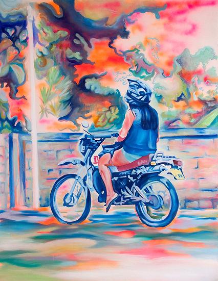 Orangeemile femme moto