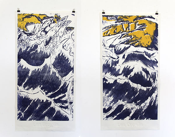 emile orange Les Broyés ~ Les Divisés Gravure sur bois et gaufrage, 86x 44 cm Émile ORANGE