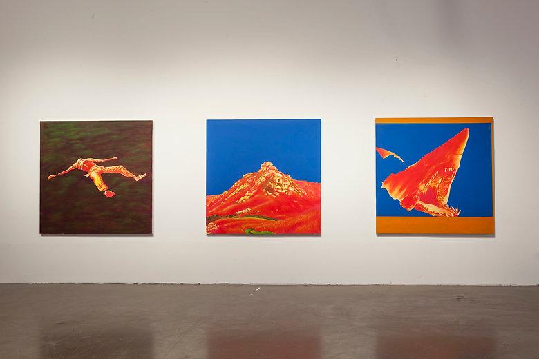 emile orange Image Source Triptyque, Acrylique, peinture aérosol, 150x 150 cm, 2015/2016