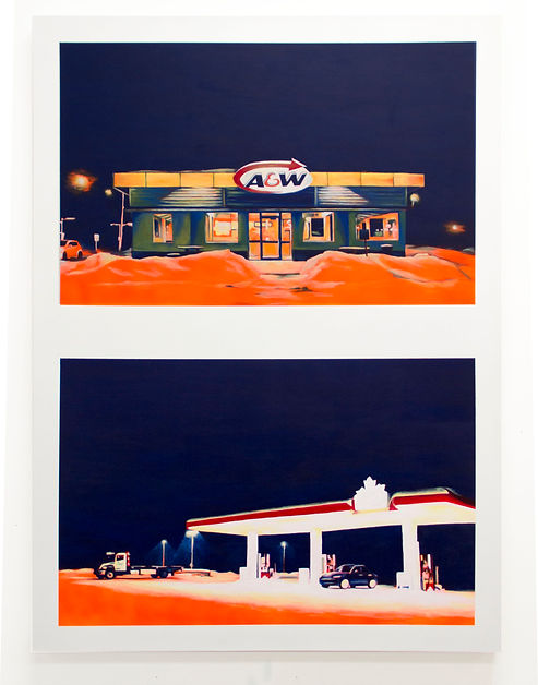emile orange Refuge Acrylique, peinture aérosol, 120x 85cm, 2016, Émile ORANGE Chicoutimi (a&w - petro canada)