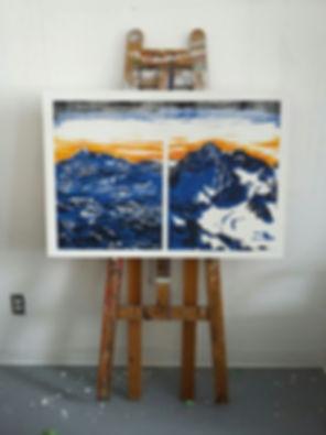 emile orange J'ai vu les montagnes comme les vagues s'écrouler Gravure sur bois, Acrylique sur toile, 70x 100 cm, 2016 Émile ORANGE