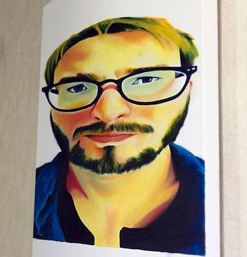 Tirer le portrait  Acrylique sur toile 50x 50cm  Anamorphose - Autoportrait