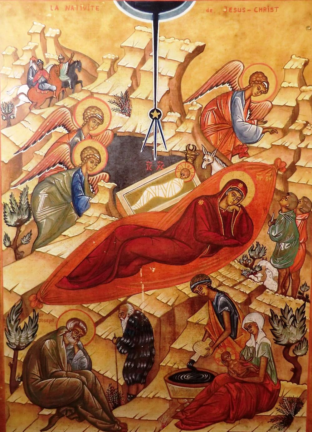 La Vierge aujourd'hui met au monde l'Eternel, et la terre offre une grotte à l'Innaccessible