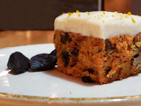 Carrot and black garlic cake