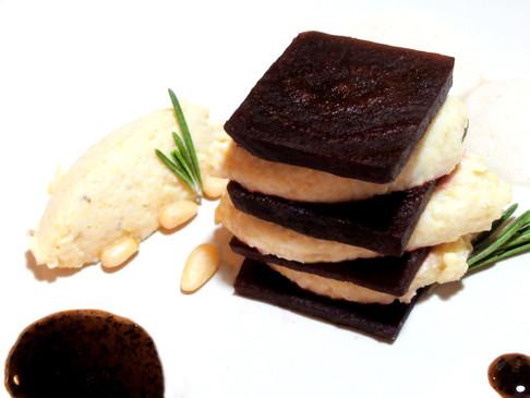 Beetroot and pine nut hummus stack, black garlic apple cider vinegar reduction