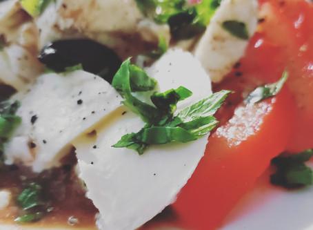 Tomato, mozzarella and black garlic