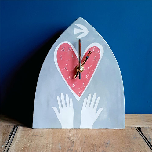 Hands and Heart clock