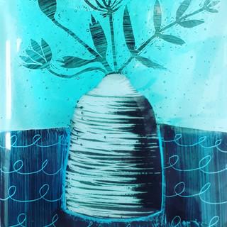 Davids bottle vase glass panel