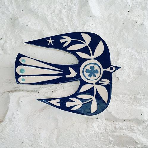 Navy bird wall plaque, abstract design