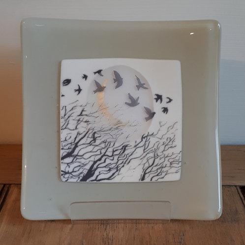 Driftwood grey silvermoon and birds dish