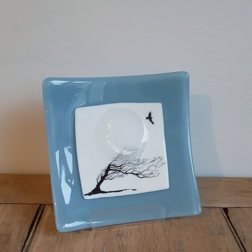 Silver moon + opaque windswept tree dish