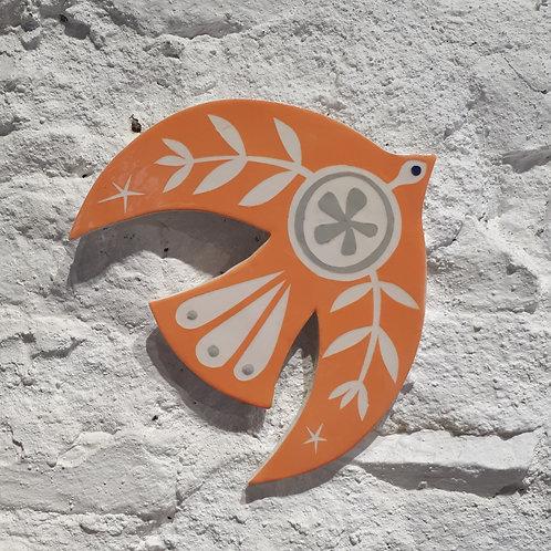 Orange bird wall plaque
