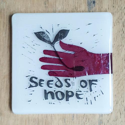 Seeds of Hope glass coaster