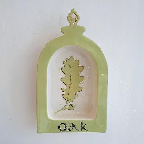 Oak leaf shrine - wall plaque, in spring green