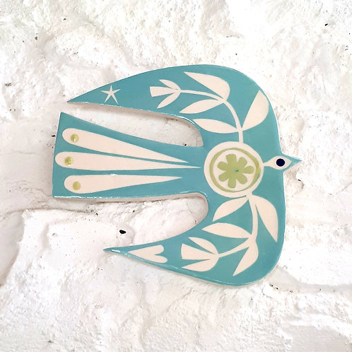 Deep turquoise bird wall plaque - abstract design