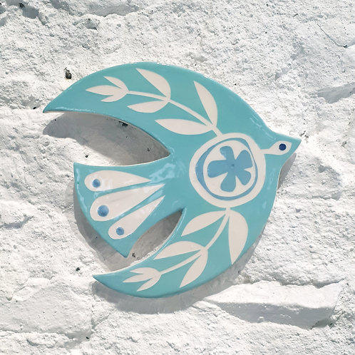 Turquoise bird wall plaque