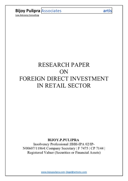 FOREIGN DIRECT INVESTMENT IN RETAIL SECTOR