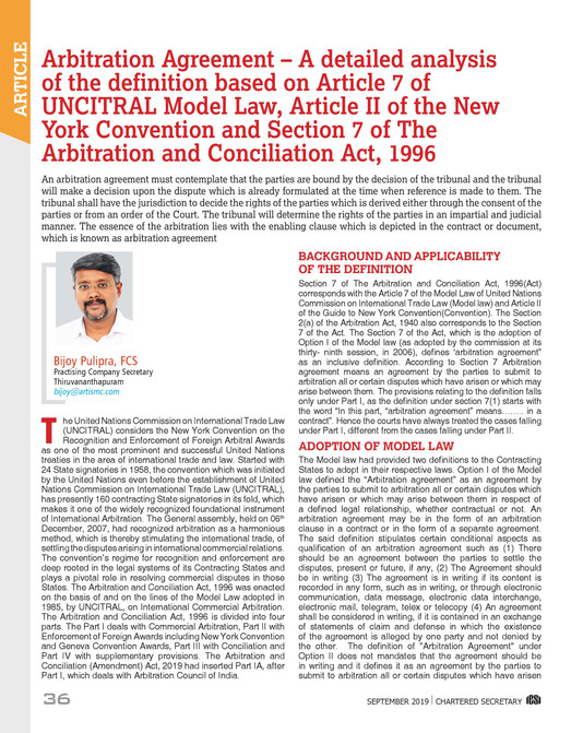 Analysis of definition of arbitration agreement