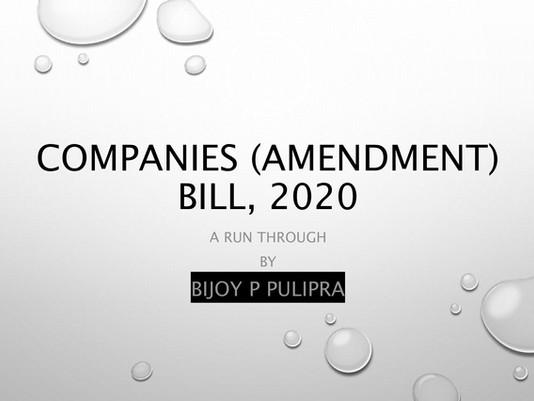 A review on Companies(Amendment) Bill, 2020