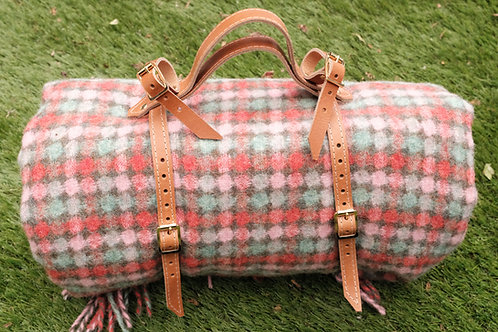 Picnic Blanket Saddle Straps in Tan Leather