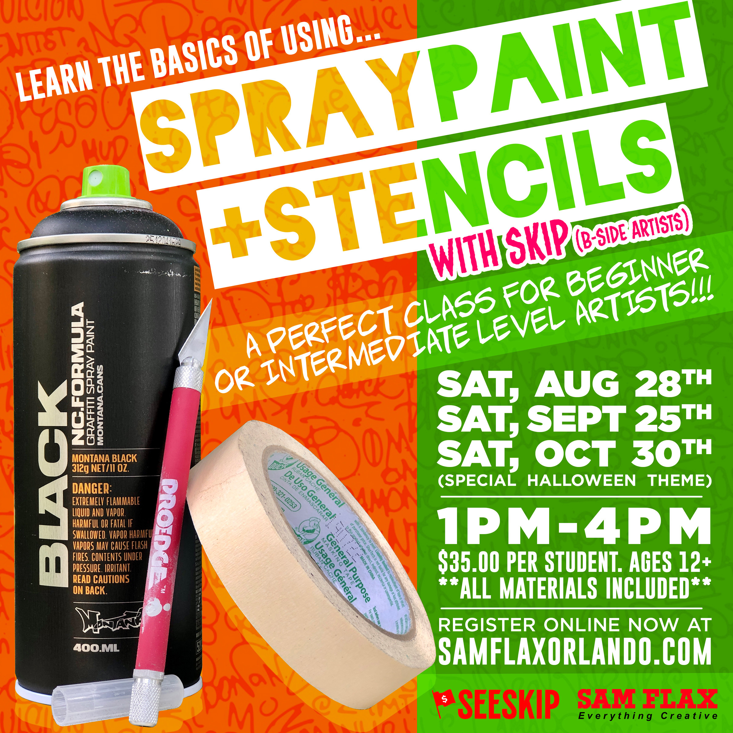 Spray Paint & Stencils Class with SKIP