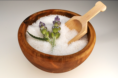Scented Hand Salt Scrub/Teak Bowl with Scoop