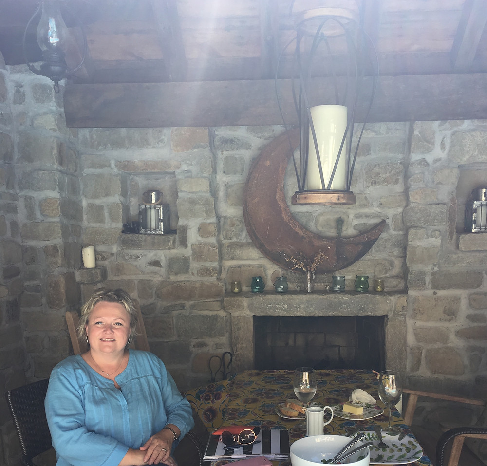 Lunch in the stone arched outdoor room