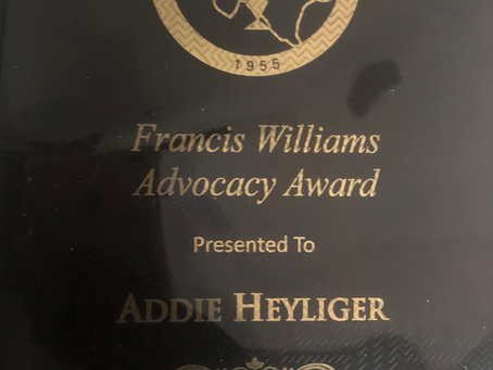 Addie Heyliger Receives the 2018-2019 Francis Williams Advocacy Award
