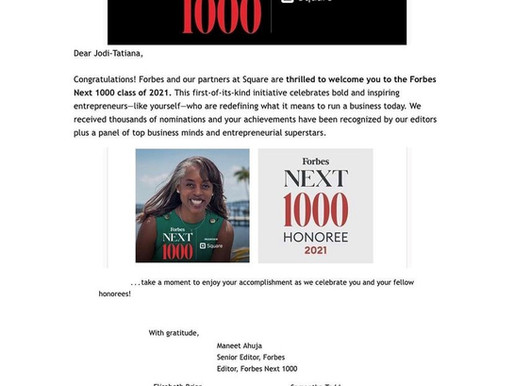 Announcement:  Jodi-Tatiana Charles named a Forbes Next 1000 Class of 2021 Honoree