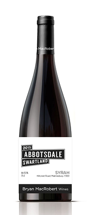 A bottle of Bryan MacRobert - Abbotsdale Syrah from South Africa
