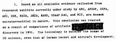"A paragraph from the ""Twining Report,"" also known as the 1947 ""White Hot Intelligence Estimate,"" showing 1941 UFO crash discovery by the army."