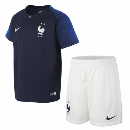 2018 France Home Kid's Football Kit (2 STARS)