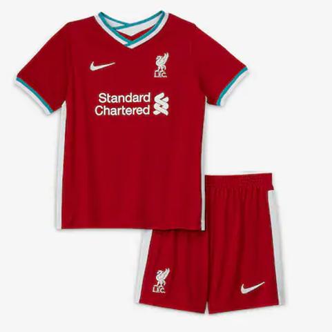 2020-2021 Liverpool Home Kid's Football Kit
