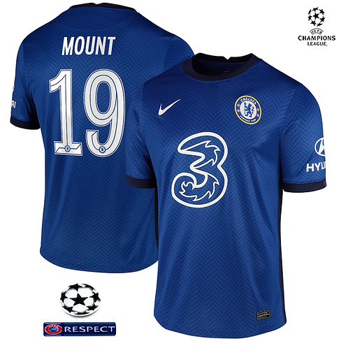 Chelsea Champions League Shirt (CL Cup Print + Patches On Shirt)