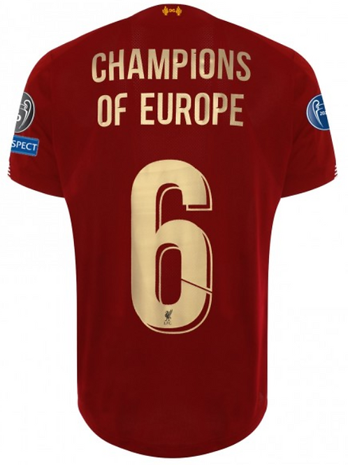 Liverpool 19/20 Champions Of Europe 6 Home Football Shirt