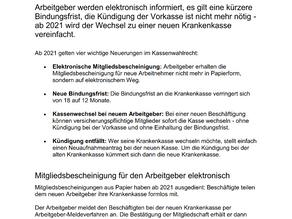 Achtung! Neuerungen zum Krankenkassen-Wahlrecht...