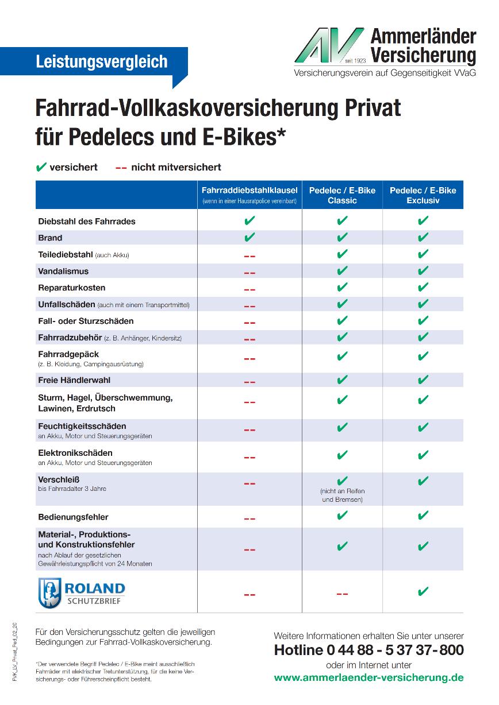 Fahrrad Vollkasko Versicherung E-Bike Pedelc
