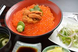 鮨寿 生ウニと村上産鮭いくら丼定食