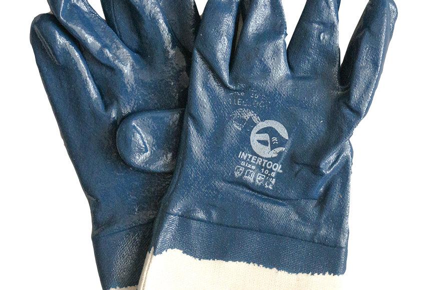 Перчатки х/б с плотным нитриловым обливом, манжета крага (пара)