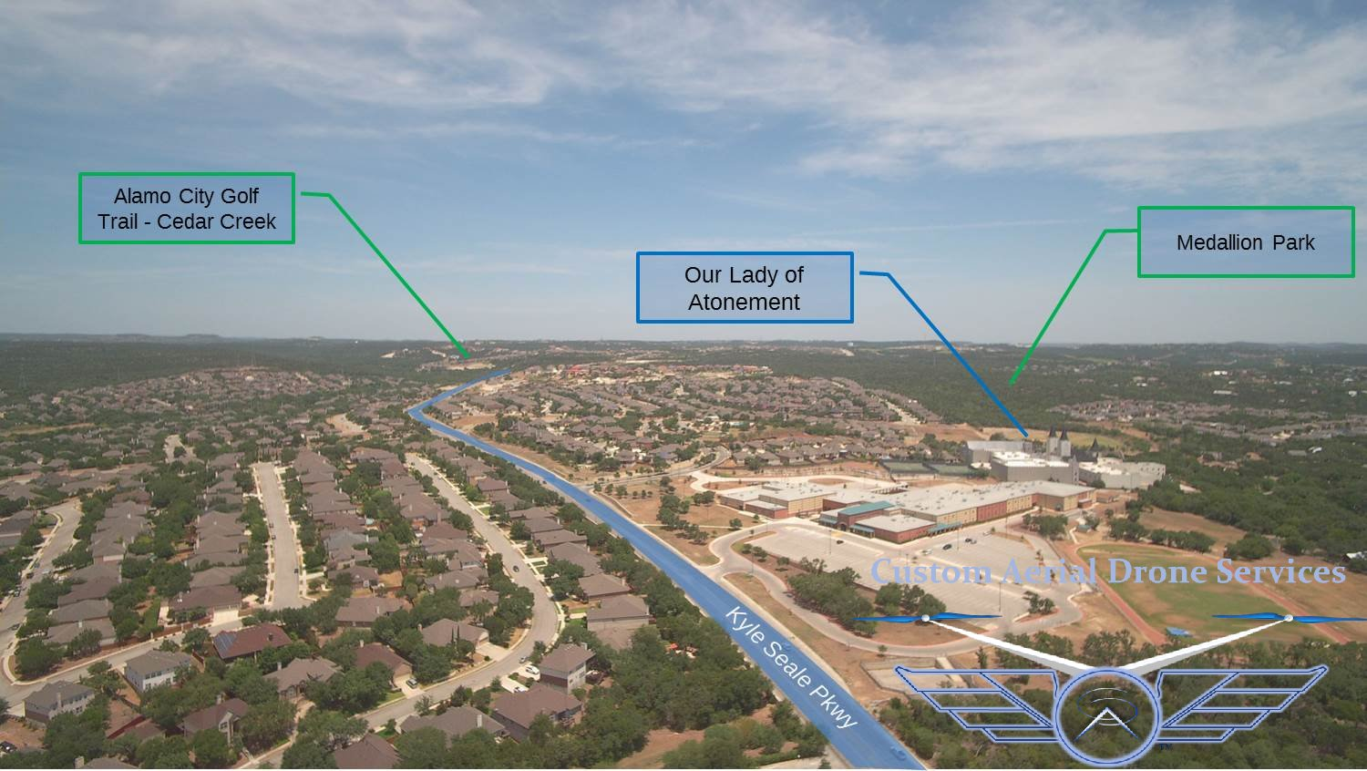 Aerial photo with overlay graphics