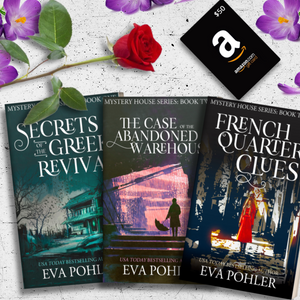 An image of a $50 Amazon gift card and the first three paperbacks in Eva Pohler's The Mystery House Series, which are being given away in a sweepstakes.