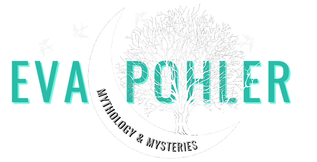 Eva Pohler's moon tree logo looks mysterious, as a white tree is growing from a crescent moon.