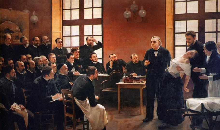 Dr Charcot giving a lecture on hysteria at the Salpêtrière hospital in Paris. Wellcome Collection CC-BY
