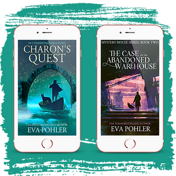 Covers for Charon's Quest and The Case of the Abandoned Warehouse are depicted on iPhones.